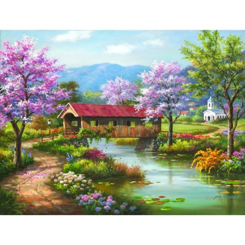 Covered Bridge in Spring a 300-Piece Jigsaw Puzzle by Sunsout Inc.