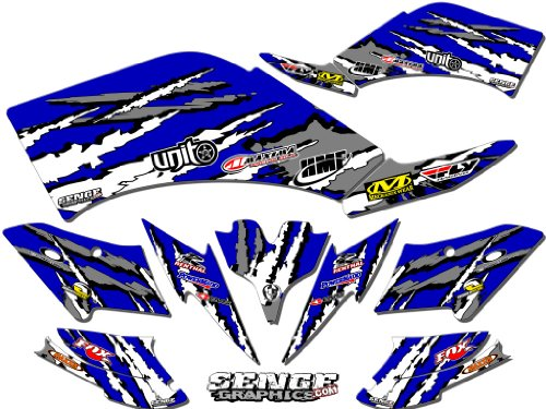 Senge Graphics kit compatible with Yamaha All Years Raptor 350, Shredder Blue Graphics Kit