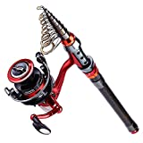 YONGZHI Fishing Poles with Spinning Reels Combos Telescopic Fishing Rod for Travel Saltwater Freshwater Fishing Bass Trout