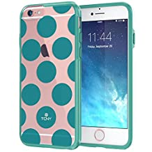 "iPhone 6 6s Plus Case 5.5"", True Color® Large Polka Dots Printed on Clear Transparent Hybrid Cover Hard + Soft Slim Thin Durable Protective Shockproof TPU Bumper Cover - Teal"