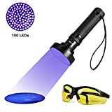 Extra Bright UV Black Light Flashlight Pet Stain Urine Detector Bright 100 LEDs Blacklight Torch UV Blacklight Flashlight with UV Sunglasses for Bed Bugs Scorpions Household Hotel Stains