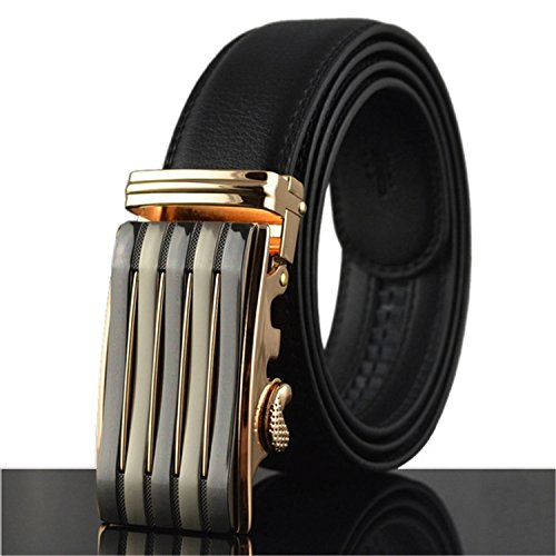 Automatic Buckle Belts For Men Famous Brand Solid Strap Leather Belt Waistbands LY712 (Famous Look Automatic Watch)