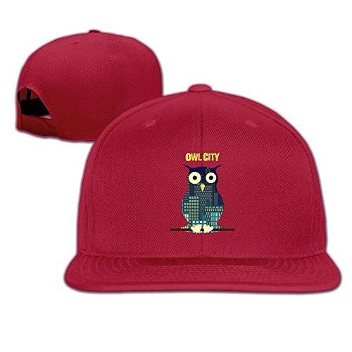BODAP Owl City Album Logo Adjustable Flat Brim Baseball Cap Red