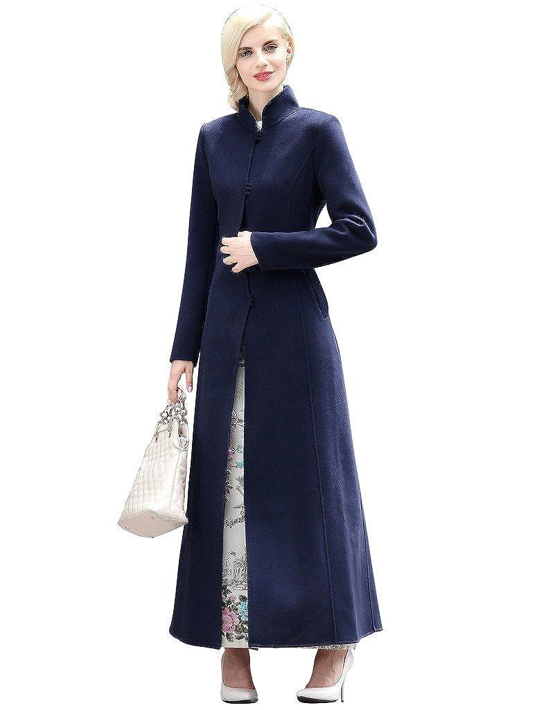 Dark bluee YiYuan Fashion Elegant 100% Wool Trench Coats Cheongsam for Women bluee