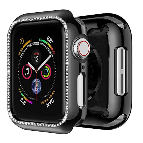 amBand Case Compatible with Apple Watch 44mm, Crystal Frame Screen Protector Compatible for iWatch Bling Band Series 4 Black