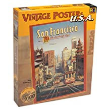 """Vintage Posters U.S.A. - SAN FRANCISCO Jigssaw Puzzle - TWA first The Lindbergh Line, Transcontinental & Western Air, Presidio Ave & Market Streets Trolley Cars - Signature 1026 piece Jigsaw Puzzle by BGI (Buffalo Games International). 27"""" x 20"""" in original box."""