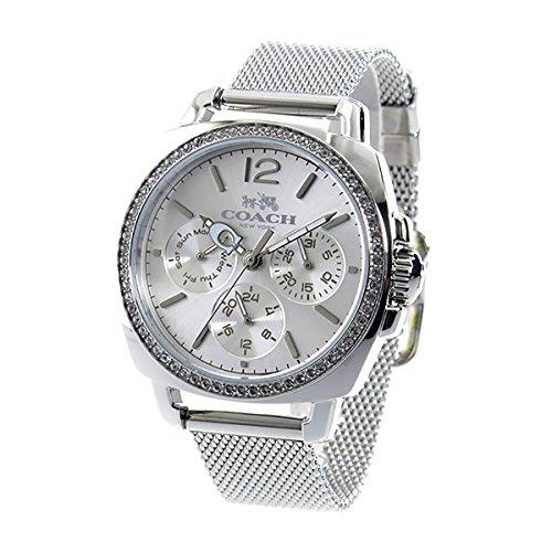 Coach Womens 14502489 Mini Boyfriend Silver Tone Stainless Mesh Glitz Watch