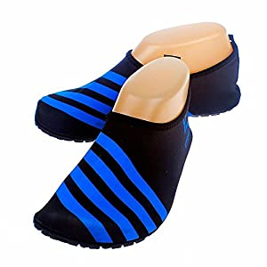 Cevinee™ (Update Version) Slip-on Water Shoes, Anti-slip Aqua Socks, Breathable Beach Swim Surf Yoga Outdoor Soft Shoes - Blue Stripe L