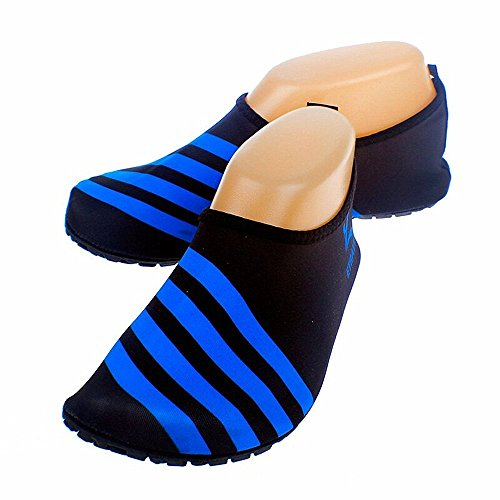 Boys Wide Water Shoes - Cevinee™ (Update Version) Slip-on Water Shoes, Anti-slip Aqua Socks, Breathable Beach Swim Surf Yoga Outdoor Soft Shoes - Blue Stripe L