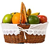 Wicker Oval Willow basket Handles For Gifts Picnic Empty Fruit Gift Baskets Small Hand Woven Garden Holder With White Liner For Storage Of Vegetables Or Laundry Blanket (Light Brown Wicker Basket)