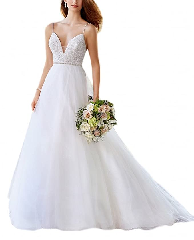 c161b741f50f Doramei Women s Bridal Gowns Strap V-Neck Tulle Beaded Sashes Long Sweep  Train Wedding Dress at Amazon Women s Clothing store