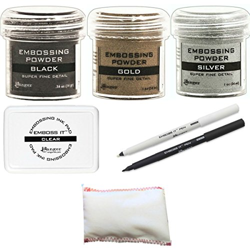 Embossing Kit Bundle - 3 Ranger Super Fine Embossing Powder, 1 Bye Bye Static Pad, 1 Ranger Emboss It Foam Pad and Two Emboss It Pens Black and Clear