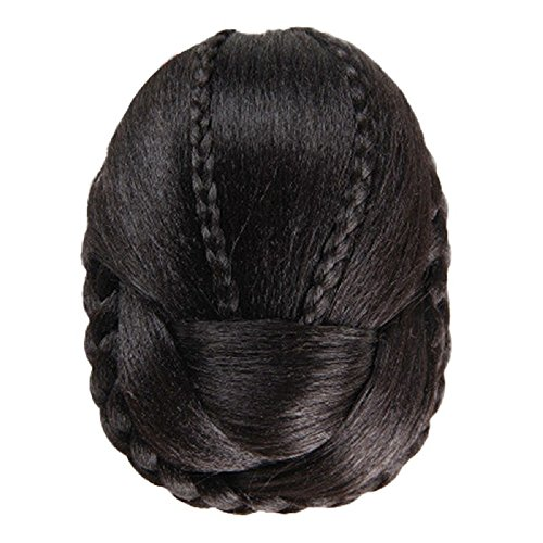 Kwok Women Wig Bun Hair Braided (Black)