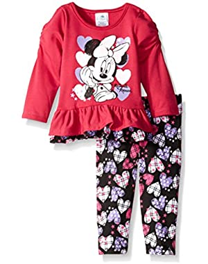 Baby Girls' 2 Piece Minnie Ruffled Shirt and Heart Printed Legging