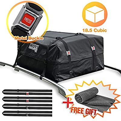 100% Waterproof Roof Cargo Bag 18.5 Cubic Ft Dual Seam with Heavy Duty Metal Buckle Straps Top Carrier Storage Box Bonus 1 Rooftop Protective Mat Fit for Cars with/Without Racks?4 Straps?