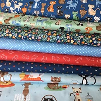 Gato de tela - Crafty gatos reunión por Makower - makfb075 - 7 textiles français cada 55 x 50 cm - 100% algodón: Amazon.es: Hogar