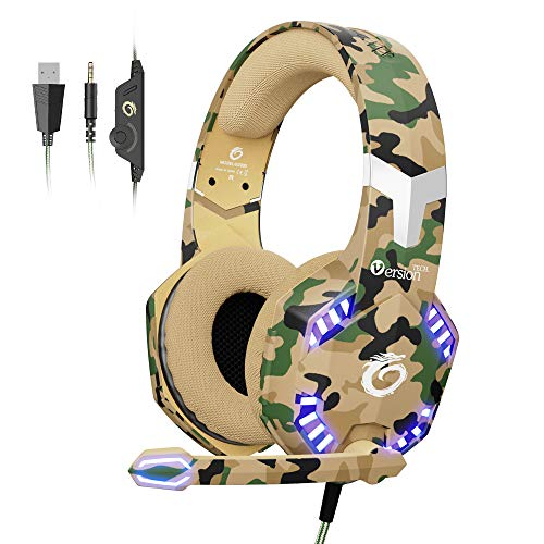 VersionTECH. [2019 Updated] Gaming Headset, Noise Cancelling Over-Ear Headphones with 50mm Drive Unit, Adjustable Mic, LED Lights for PS4, Xbox one, Laptop, Desktop Computer, Mac- Camouflage