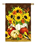 Cheap Evergreen Autumn Sunflower Still Life Satin House Flag, 29 x 43 inches