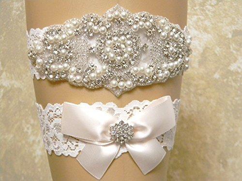Hint of Pink Wedding Garter Set, Bridal Garter Belt, Pearl and Crystal Rhinestone Keepsake and Toss Garter Set, Lace Garters, MORE COLORS by PCB Studio