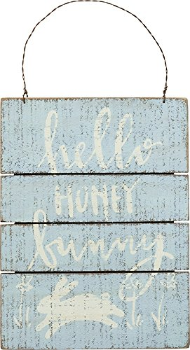 Primitives by Kathy Hello Honey Bunny 6 Inches x 8 Inches Wood Slat Hanging Sign Home and Garden Decor