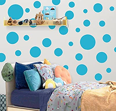 """Create-A-Mural Polka Dot Wall Stickers, (63) Wall Decor Stickers, Wall Dots, Vinyl Circle Room Dot Decals 3"""" - 6.5"""""""