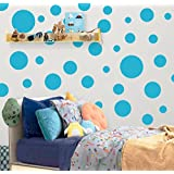 Create-A-Mural Polka Dot Wall Stickers, Wall Decor Stickers, Wall Dots, Vinyl Circle Room Dot Decals (Teal)
