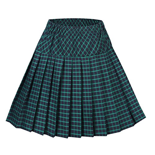 Urban CoCo Women's Elastic Waist Tartan Pleated School Skirt (Medium, Series 10 Green)
