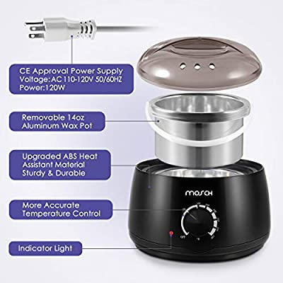 Wax Warmer Hair Removal Kit, Electric Professional Wax Heater Hair Removal Kit with 4 Different Flavor Hard Wax Beans and 20 Wax Applicator Sticks, Suitable for All Wax Types
