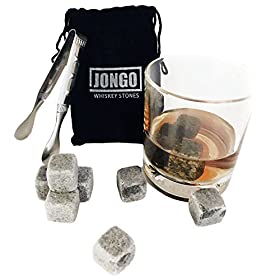 Whiskey Chilling Stones Gift Set of 10 | For Irish Scotch, Jack Daniels & Other Beverages | Ice Rocks – Stainless Steel Tongs – Velvet Pouch – Groomsmen Gifts for Wedding – Drink Cubes
