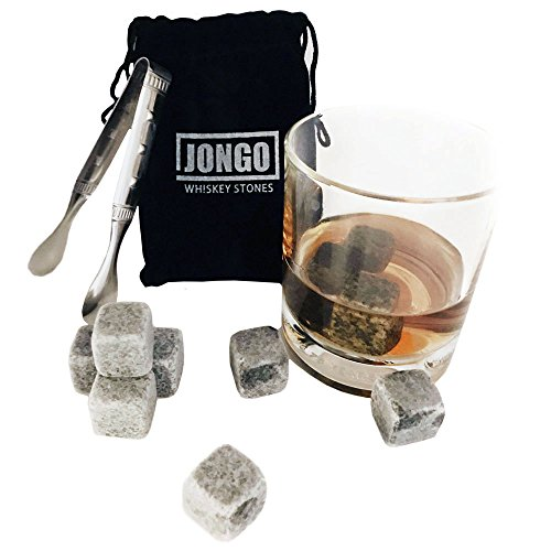 Whiskey Stones Gift Set | 10 Whisky Ice Cubes, Freezer Bag & Stainless Steel Tongs | Ice Rocks for Chilling Whisky, Wine, Scotch or any Drink Without Diluting - Groomsmen Gifts, Chills 8 - 9°F