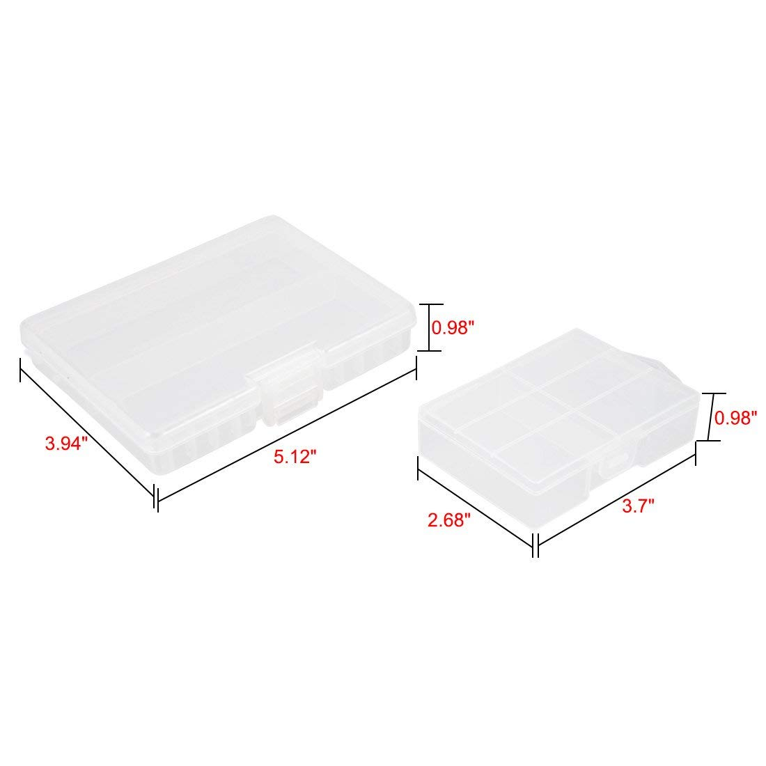 48 x AA -1pcs, 48 x AAA - 1pcs YXQ AA AAA Battery Storage Box Organizer Holder Clear Plastic Case Container Portable