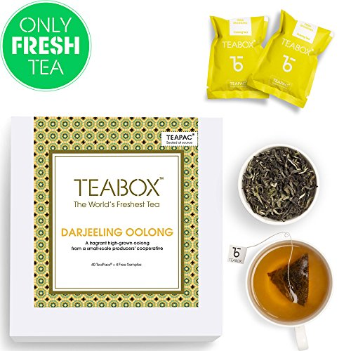 Teabox Darjeeling Oolong Tea, 44 Teabags (4 Free Exotic Samples Included) |100% Natural Darjeeling CTM Oolong Tea | Whole Leaf Weight Loss Oolong Tea | Sealed-at-Source Freshness from India by Teabox