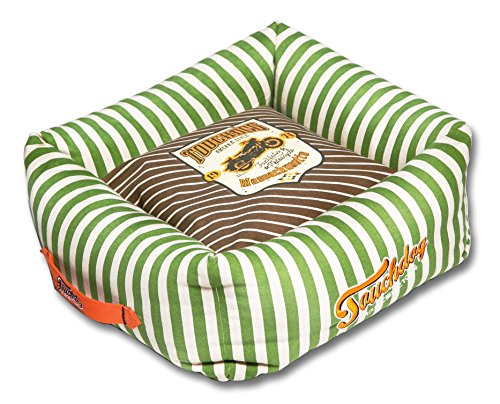TOUCHDOG 'Neutral-Striped' Ultra-Plush Easy Wash Squared Fashion Designer Pet Dog Bed Lounge, Large, Brown, Spearmint Green (Spearmint Striped Green)