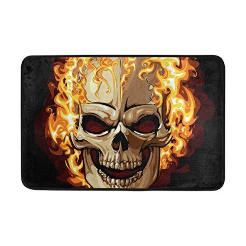 U LIFE Creative Spooky Happy Halloween Skull Fire Non Slip Doormat Doormats Area Rug for Entrance Way Front Door Indoor Outdoor 23.6 by 15.7 Inches 40 x 60 cm -