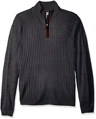 Soft Acrylic Dockers (Dockers Men's Quarter Zip Soft Acrylic Sweater, Black Marl, Large)