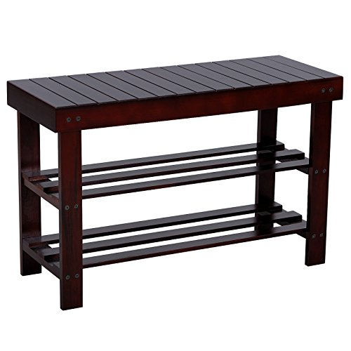 Songmics Entryway Wooden Shoe Bench 2 Tier Shoe Rack Organizer Brown Ulwb66z