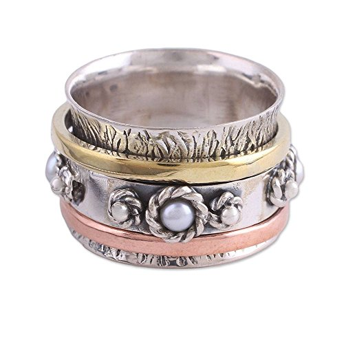 NOVICA Cultured Freshwater Pearl .925 Sterling Silver Brass Copper Meditation Spinner Ring, Spinning ()