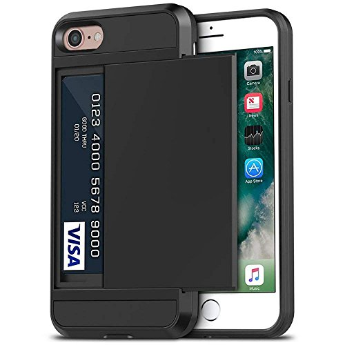 iPhone 7 Case, Anuck Shockproof iPhone 7 Wallet Case [Card Pocket] Anti-scratch Protective Shell Rugged Rubber Bumper Cover with Card Slot Holder for Apple iPhone 7 & iPhone 8 (4.7 inch) - Black
