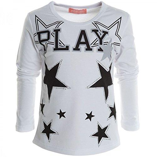 Mädchen Bluse Shirt Pullover Langarmshirt Longsleeve Sweatshirt T-Shirt 20538, Farbe:Weiß;Größe:140