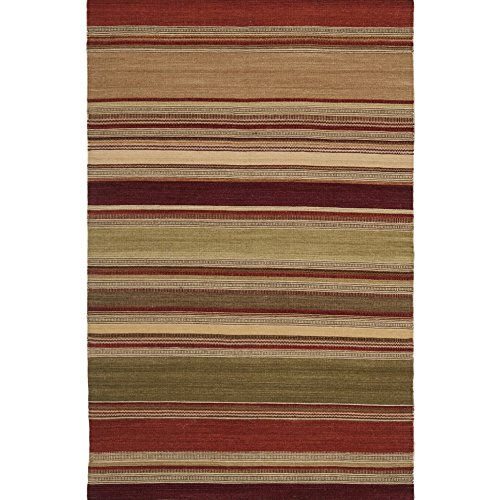 Safavieh Striped Kilim Collection STK313A Hand Woven Red Premium Wool Area Rug (4' x 6') (Kilim Rugs Area)