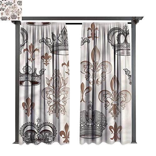 cobeDecor UV Protectant Indoor Outdoor Curtain Panel Fleur De Lis Crowns Lily Shapes for Lawn & Garden, Water & Wind Proof W108 ()