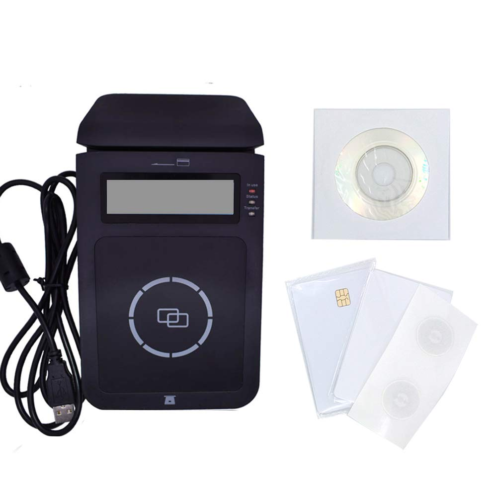 YIQing E7 USB Smart NFC RFID Reader Writer Support NFC contact and contactless IC Cards with display screen + 2pcs 4442 cards +2pcs Ntag213 Labels+ Second Development SDK