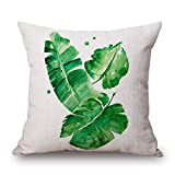 "Happy Cool Cotton Linen Square Retro Pattern Decorative Throw Pillow Case Cushion Cover with Insert 22"" x 22"" Leaves-25"