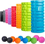 """Sfee Foam Roller with Massage Ball, 13""""x5.5"""" EVA Back Roller High Density Physical Therapy, Myofasci"""