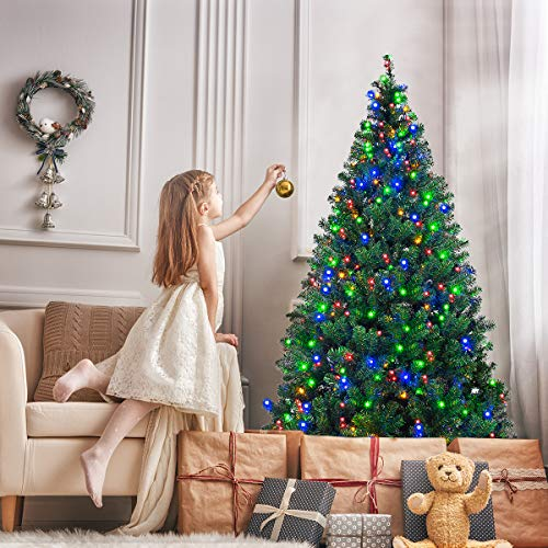 Goplus Artificial Christmas Tree Premium Spruce Hinged Tree with LED Lights and Solid Metal Stand, UL-Certified Transformer (7.5ft, 1075 Branch Tips, 550 Lights)]()