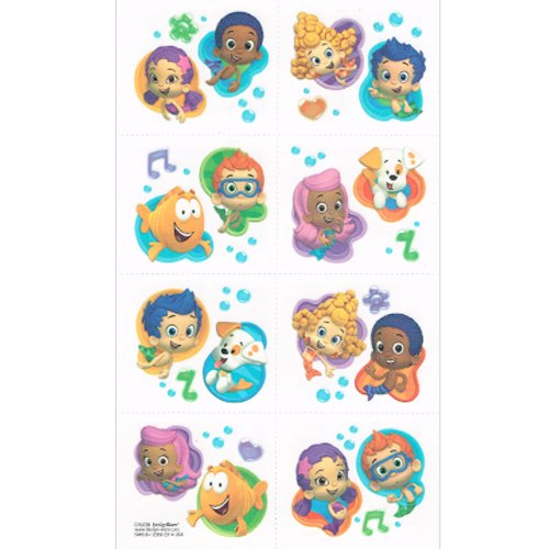 Aqua Awesome Bubble Guppies Party Temporary Tattoo Favours, Paper, 2