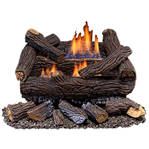 Duluth Forge 210062 Ventless Natural Gas Log Set Stacked Red Oak-Manual Control, 18 Inch