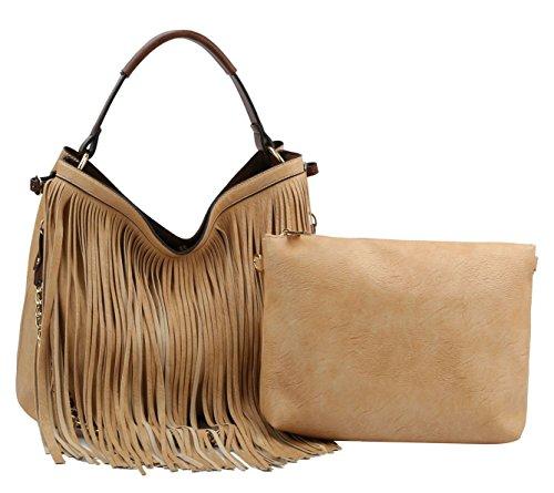 Handbag Republic Double Strap Fringe Hobo w/inner Bag Crossbody ()