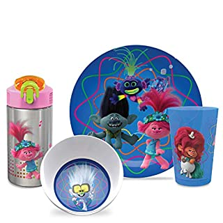Zak Designs Dreamworks Trolls 2 Movie Poppy Branch Kids BPA-Free Dinnerware Set Includes Plate, Bowl, Tumbler and Water Bottle, Made of Durable Material and Perfect for Kids (4 Piece Set)
