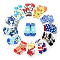 12 pares de calcetines antideslizantes calcetines para niños pequeños, calcetines para bebés HOVEOX unisex 12-36 meses